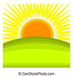 Sunrise - Sun rising behind green hill horizon. Vector...