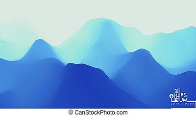 sunrise., terrain., paysage, illustration., montagnes,...