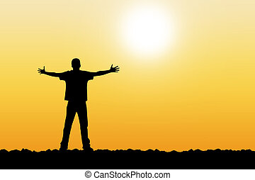The person stretches hands to the bright sun