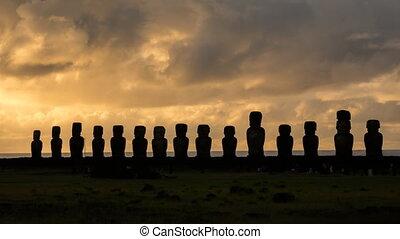 Sunrise time lapse with Ahu Tongariki silhouettes in Rapa...