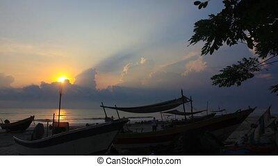 sunrise timelaps at fishing village