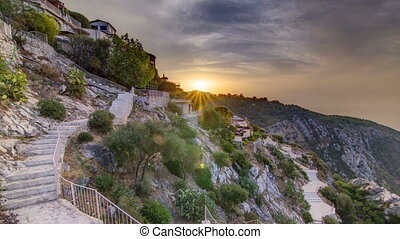 Sunrise timelapse view of the town of Eze village on the...