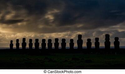 Sunrise timelapse with Ahu Tongariki silhouettes in Rapa Nui...