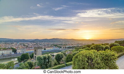 Sunrise top view of Florence city timelapse with arno river...