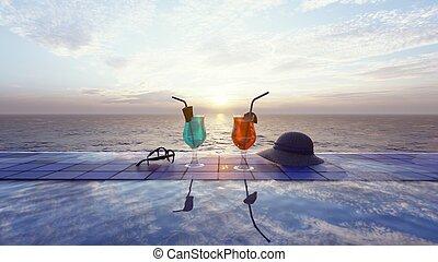 sunrise., vakolás, háttér, gyönyörű, koktél, 3 pohár, tenger