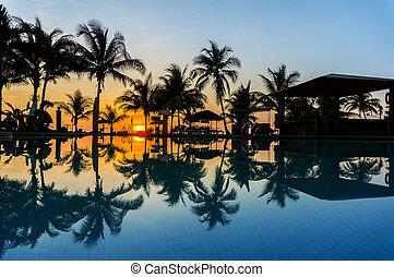 sunrise via swimming pool