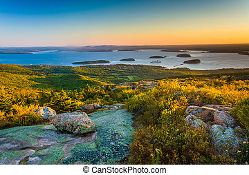 Sunrise view from Caddilac Mountain in Acadia National Park,...