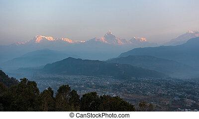 Sunrise view from Sarangkot in Nepal