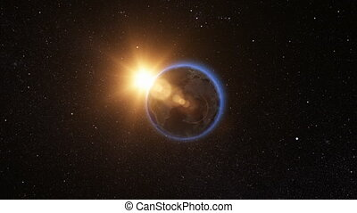 Sunrise view from space on Planet Earth. 3D Render