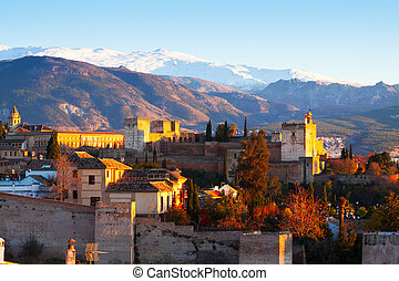 Sunrise view of  Alhambra with Sierra Nevada