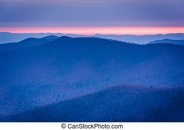 Sunrise view of layers of the Blue Ridge from Blackrock Summit, in Shenandoah National Park, Virginia.