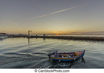 Sunrise view of Olhao Recreational Marina, waterfront to Ria...