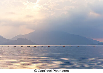 Sunrise view of the Aegean Sea and the rocky mountains. Marmaris. Turkey