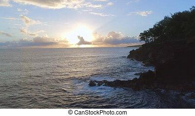 Sunrise View Over the Hawaiian Coast - Sunrise coastal...
