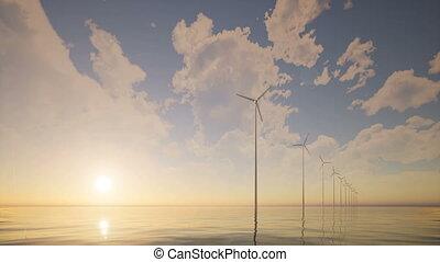 Sunrise wind generators farm calm sea 4k