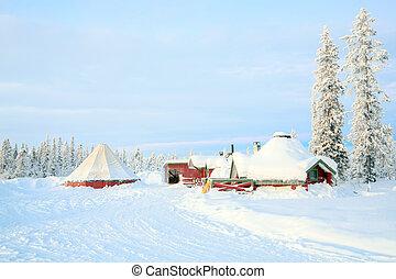 Sunrise Winter landscape with house at Kiruna Sweden lapland