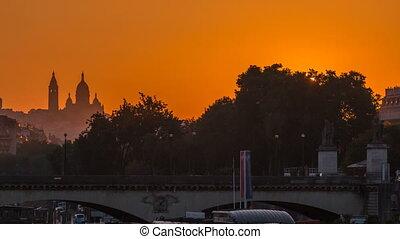 Sunrise with Basilica Sacre Coeur and the Seine river...