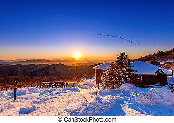 Sunrise with beautiful Lens Flare and silhouettes of birds at Deogyusan mountains in winter, South Korea.