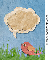 Sunrise with blue sky and cloud made from recycled paper craft