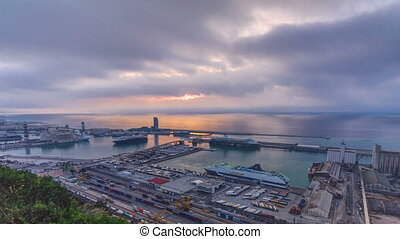 Sunrise with Panoramic view of the port in Barcelona timelapse, Spain.