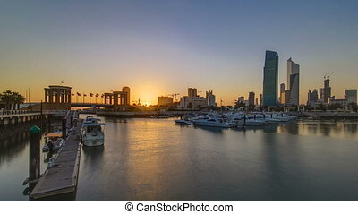 Sunrise. Yachts and boats at the Sharq Marina timelapse in...