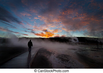 Sunrise Yellowstone Geysers with Man Silhouetted