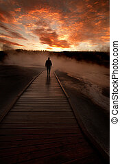 Sunrise Yellowstone Geysers with Man Silhouetted - Sunrise ...