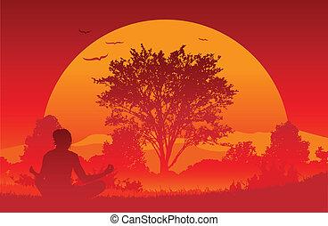 Sunrise Yoga - An illustration of a woman practicing a yoga...