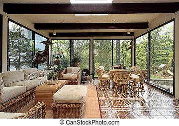 sunroom, ∥で∥, パターン装飾された, タイル