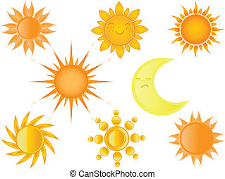 Suns collection. Vector illustration