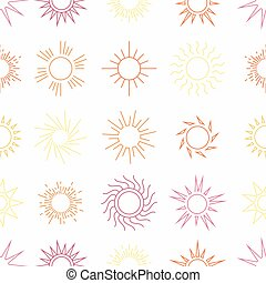 Suns in the sky seamless pattern