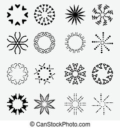 Sun's Rays Icons Set - Isolated On Gray Background