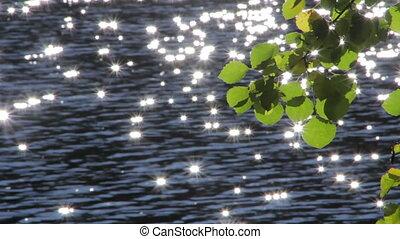 Sun's reflection in the water. Glar