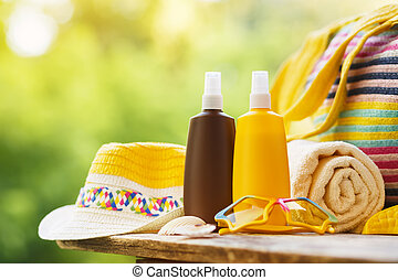 Sunscreen cosmetic and beach accessories