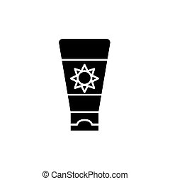 Sunscreen cream black icon, vector sign on isolated...