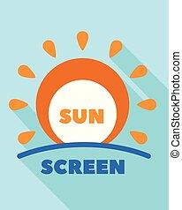 Sunscreen cream logo, flat style - Sunscreen cream logo....