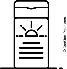Sunscreen cream tube icon, outline style - Sunscreen cream...