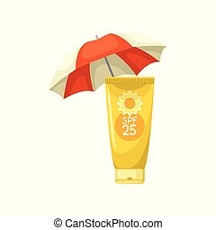 Sunscreen lotion tube and beach umbrella. Skin care and health theme. Flat vector for advertising flyer or poster of cosmetic product