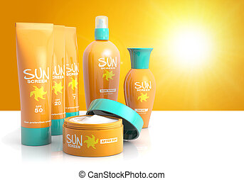 sunscreen - set of sun lotions isolated on a sunny ...
