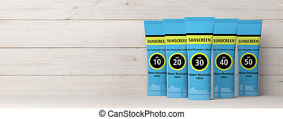 Sunscreen, sun protection lotion isolated on white wooden ...