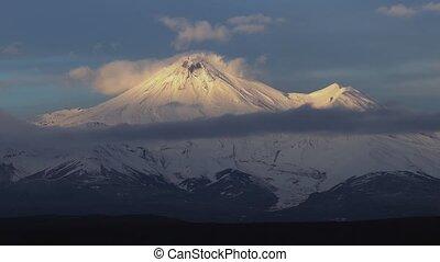 sunset:, активный, конус, посмотреть, пейзаж, вулканический, вулкан, оглушающий, зима