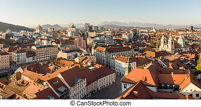 sunset., ウイルス, ljubljana, スロベニア語, 空, 社会, 通り, 光景, 資本, ...