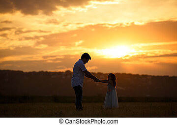 sunset., シルエット, フィールド, 娘, お父さん
