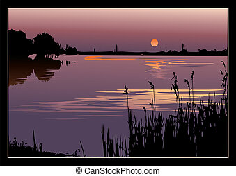 A beautiful sunset on the river. Vector art-illustration.