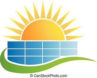 Sunset above business building. Vector Logo Design