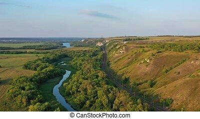 Aerial view of Divnogorye Museum-Reserve at sunset, Voronezh region, Russia, 4k