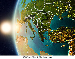 Sunset above Montenegro from space - Illustration of...