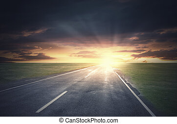 Sunset above road - Nature landscape of sunset light above...
