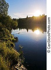 Sunset above the Gauja river, Cesis, Latvija