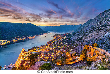 Sunset above the town and the Bay of Kotor in Montenegro